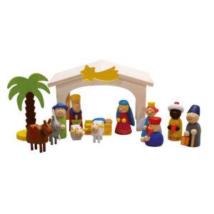 Weihnachtskrippe aus Holz für Kinder