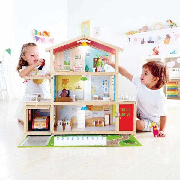 Puppen Villa aus Holz für Kinder in Kindergarten- und Schulalter