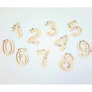 Holz Zahlen für Licht Tablet