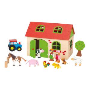 Mein Bauernhof aus Holz mit Figuren