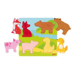 Fühlpuzzle Tiere aus Holz