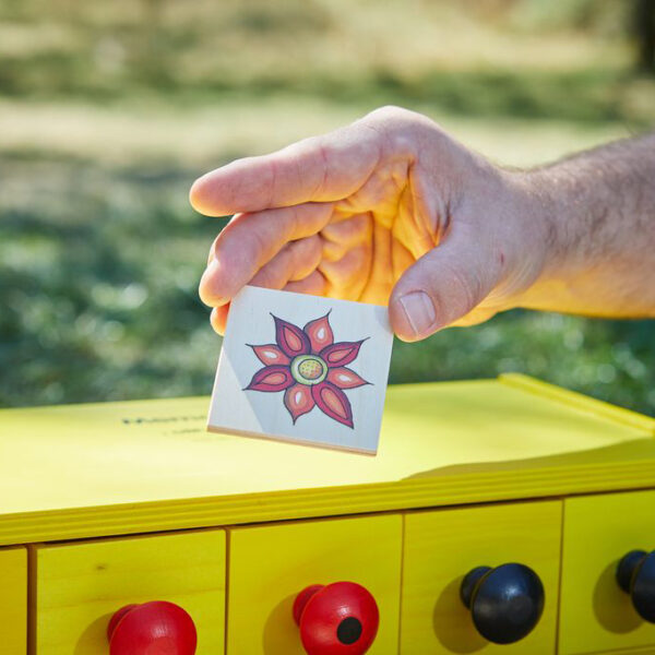 Kind hält Karte vom Memolo Memory von olifu